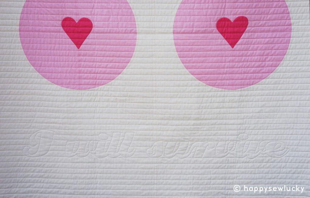 BOOB LOVE made for my sister to take to her chemo treatments when she had breast cancer. Designed and pieced by Berene Campbell. Quilted by Jeannie Jenkins.
