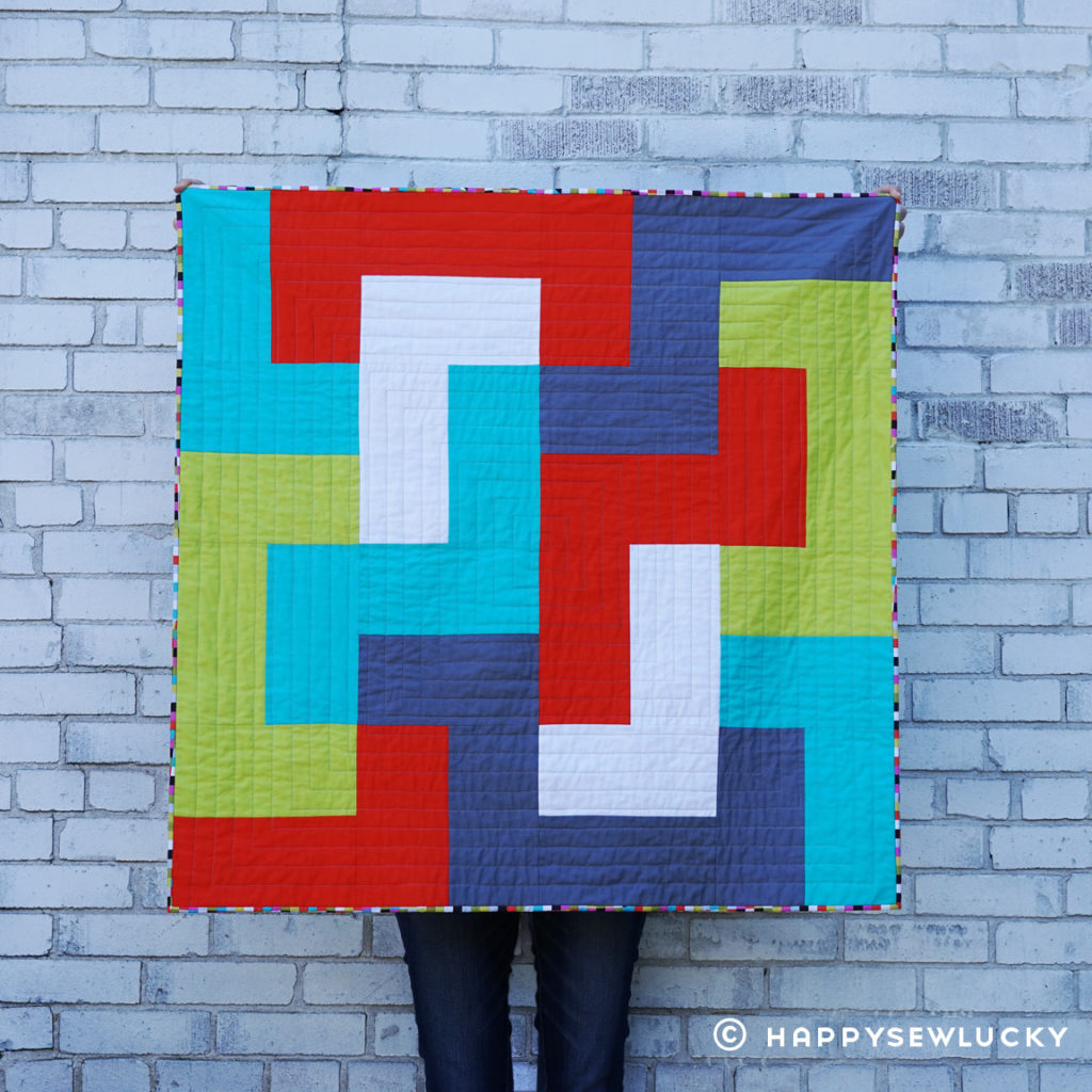 BLOKUS QUILT: designed & made by Berene Campbell. Taught as a beginner class using strips. #blokusquilt